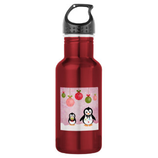Adorable Christmas Penguins Pink Background Water Bottle