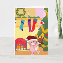 Adorable Christmas Pig Card