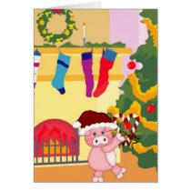 Adorable Christmas Pig Card