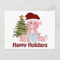 Adorable Christmas Pig Tees and Gifts Holiday Postcard
