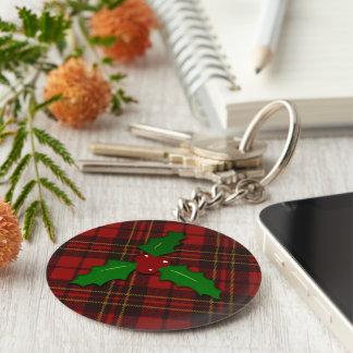 Adorable Christmas tartan key chain