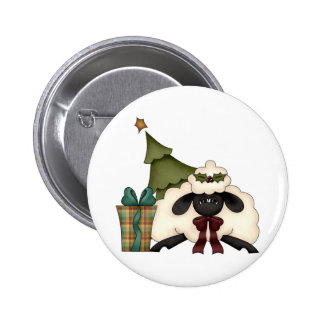 adorable christmas time sheep 2 inch round button