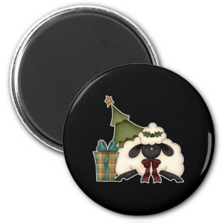 adorable christmas time sheep 2 inch round magnet
