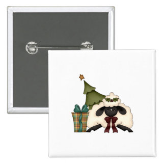 adorable christmas time sheep 2 inch square button