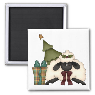 adorable christmas time sheep 2 inch square magnet