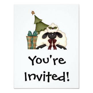 adorable christmas time sheep 4.25x5.5 paper invitation card