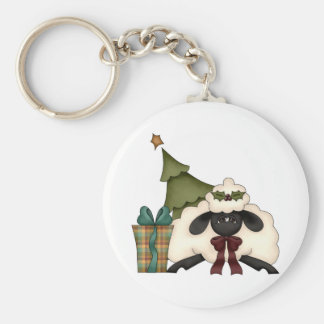 adorable christmas time sheep basic round button keychain