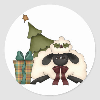 adorable christmas time sheep classic round sticker