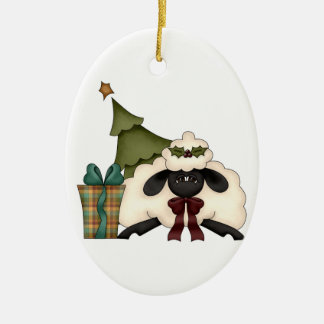 adorable christmas time sheep Double-Sided oval ceramic christmas ornament