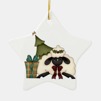 adorable christmas time sheep Double-Sided star ceramic christmas ornament