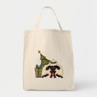 adorable christmas time sheep grocery tote bag