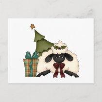 adorable christmas time sheep holiday postcard