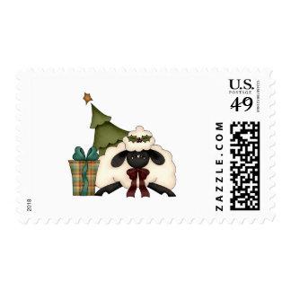adorable christmas time sheep postage stamps