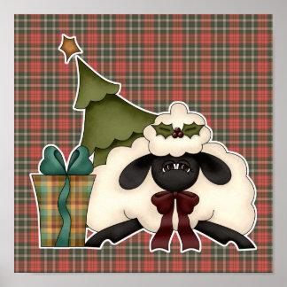 adorable christmas time sheep poster