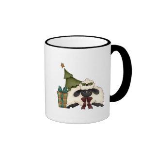 adorable christmas time sheep ringer coffee mug