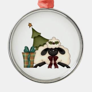 adorable christmas time sheep round metal christmas ornament
