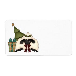 adorable christmas time sheep shipping label