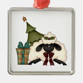 adorable christmas time sheep square metal christmas ornament