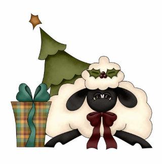 adorable christmas time sheep standing photo sculpture