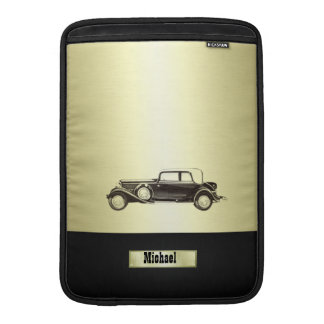Adorable classy vintage gold old car monoram MacBook air sleeve