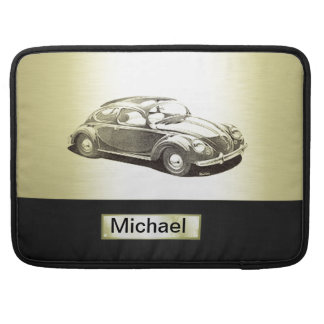 Adorable classy vintage gold old car monoram MacBook pro sleeve