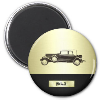 Adorable classy vintage gold old car monoram magnet
