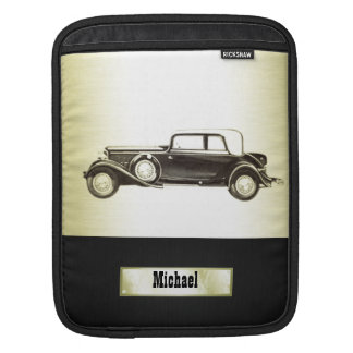 Adorable classy vintage gold old car monoram sleeve for iPads