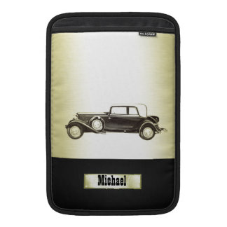 Adorable classy vintage gold old car monoram sleeve for MacBook air