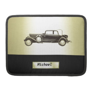 Adorable classy vintage gold old car monoram sleeve for MacBook pro