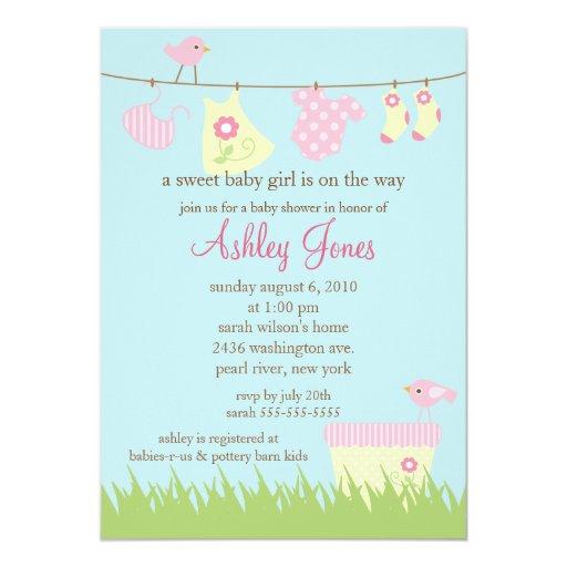 Adorable Clothesline Baby Shower Card