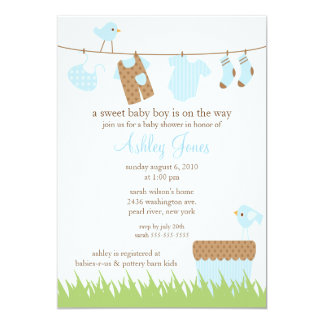 Adorable Clothesline Boy Baby Shower 5x7 Paper Invitation Card