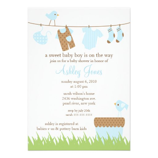 baby boy shower invitation featuring the sweetest clothesline with
