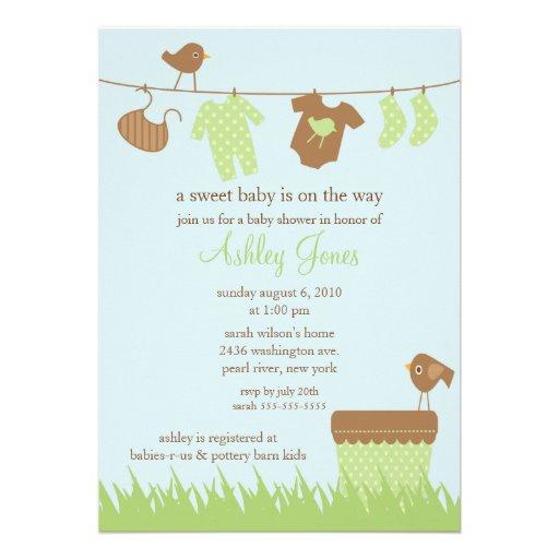 adorable clothesline gender neutral baby shower 5x7 paper invitation