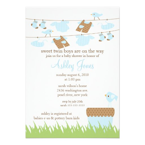 Adorable Clothesline Twins Baby Boy Shower Invite