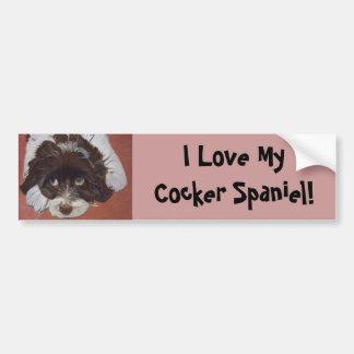 Adorable Cocker Spaniel Car Bumper Sticker