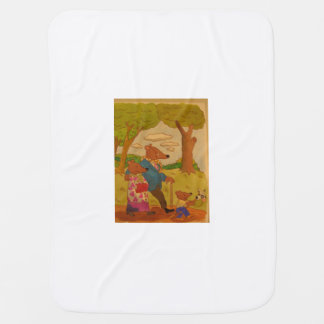 Adorable, colorful, family of bears out for stroll swaddle blanket