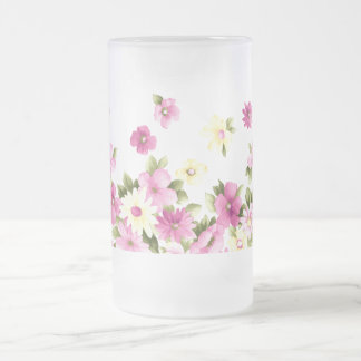 Adorable Colorful Girly Blooming Flowers Frosted Glass Beer Mug