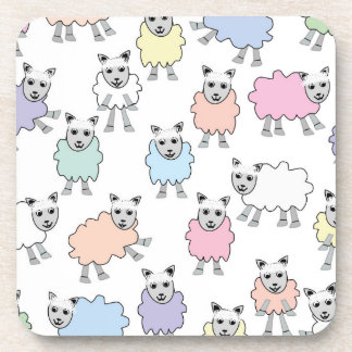 Adorable Colorful Sheep Beverage Coaster