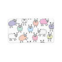 Adorable Colorful Sheep Label