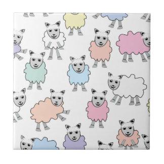 Adorable Colorful Sheep Tile