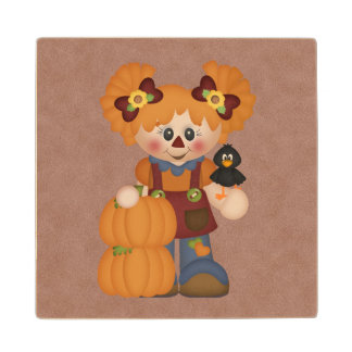 Adorable Country Autumn Fall Doll Wood Coaster