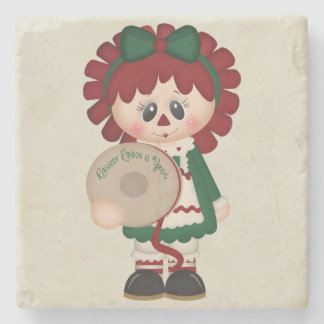 Adorable Country Christmas Doll Stone Beverage Coaster