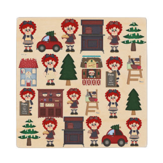 Adorable Country Christmas Doll Wood Coaster