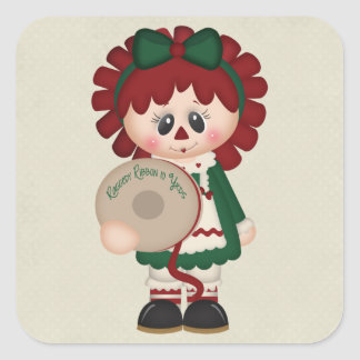 Adorable Country Christmas Doll Square Stickers