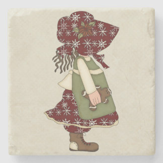 Adorable Country Christmas Rag Doll Stone Beverage Coaster