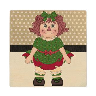 Adorable Country Christmas Rag Doll Wood Coaster