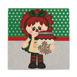 Adorable Country Christmas Rag Doll Maple Wood Coaster
