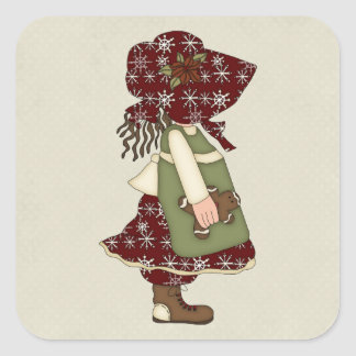 Adorable Country Christmas Rag Doll Square Stickers