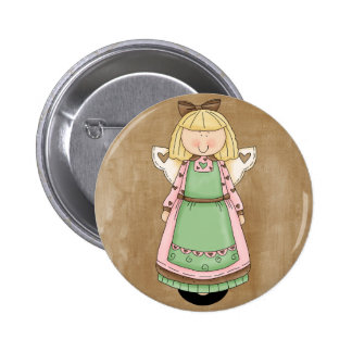 Adorable Country Folk Art Rag Angel Doll 2 Inch Round Button