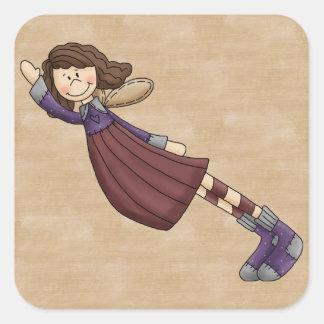 Adorable Country Folk Art Rag Angel Doll Square Sticker
